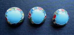 3 Antique Porcelain String Charm Fashion Buttons Beautiful