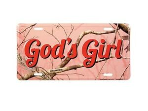 God S Girl Pink Realtree Camo License Plate Auto Tag Christian Gift