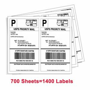 1400 Half Sheet Shipping Labels 8 5x5 5 Self Adhesive 2 sheet For Amazon Usps