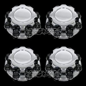 4 Chevy Gmc 8 Lug Chrome Wheel Center Hub Caps Bolt Covers For Alloy