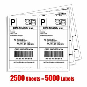 5000 Half Sheet Shipping Labels 8 5x5 5 Blank Self Adhesive For Ebay Usps Amazon