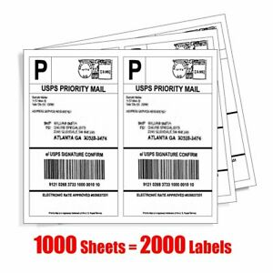 2000 Shipping Labels Half Sheet 8 5x5 5 Blank Self Adhesive For Usps 2 sheet
