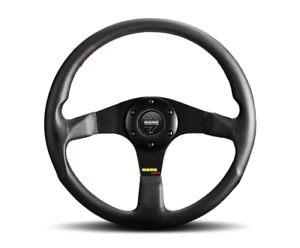 Momo Tuner Black 350mm Steering Wheel Leather With Red Stitching Us Dealer