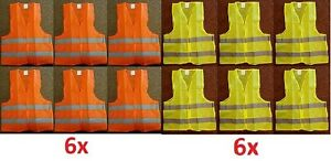 Lot 2 6 Reflective Safety Vest Yellow Orange Strip School Construction Traffic