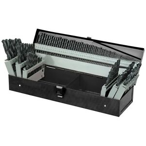 115 Pc High Speed Steel Drill Bit Set With Index Fractional Metal Drills New