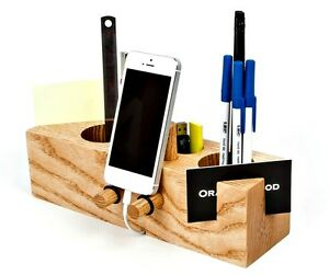 100 Handmade Ash Wood Desk Stationery Office Supply Organizer Smartphone Stand