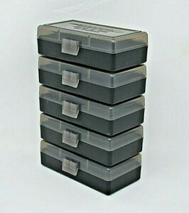 BERRY'S PLASTIC AMMO BOXES (5) SMOKE 50 Round 9MM  380