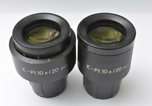 Pair Zeiss E Pl 10x 20 Goggles Glasses Microscope Eyepieces 30mm 444232 444231