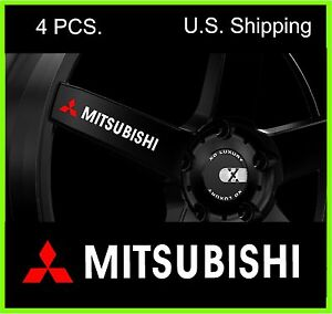 4 Mitsubishi Stickers Decals Wheels Rims Door Handle Sticker Evo Lancer White