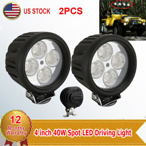 2x 4 Inch 40w Round Led Driving Light Spot Work Lamp For Offroad Suv Boat Truck