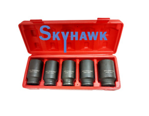 5 Pc 1 2 Dr Front Back Wheel Dr 6 Point Deep Spindle Axle Nut Socket Set