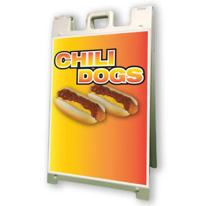 Chili Dogs Sidewalk Sign Retail A Frame 24 x36 Concession Stand Outdoor