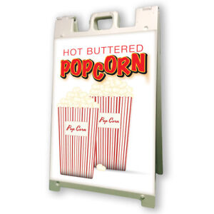 Hot Buttered Popcorn Sidewalk A Frame 24 x36 Concession Stand Outdoor