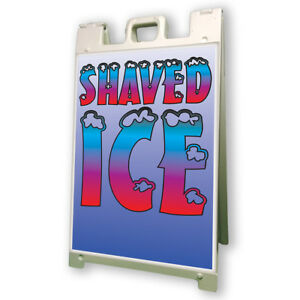 Shaved Ice Sidewalk Sign Retail A Frame 24 x36 Concession Stand Outdoor Vinyl