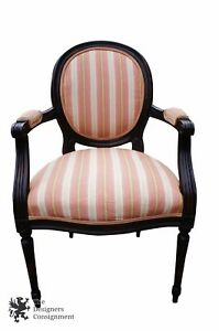 Vtg Century Chair Company Traditional Balloon Back Arm Chair Mahogany Striped