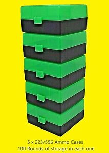 BERRY'S PLASTIC AMMO BOXES (5) GREEN-BLACK 100 ROUND 223  5.56 NEW ITEM