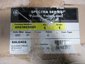 Ge Spectra Ads36030hs Fusible Disconnect 3p 30a 600 Volts New In Box Free Ship