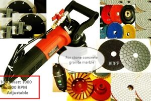 Wet Polisher Granite Concrete Stone Fabrication Cutter 30 Pad 5 Blade Terrazzo