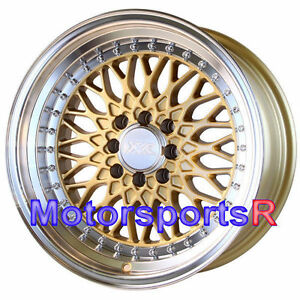 Xxr 536 Gold 16 16x8 0 Deep Dish Step Lip Wheels Rims 4x114 3 Honda Hellaflush
