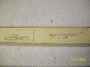 Vintage Lab Brine Hydrometer 0 100 Thermometer Corp of America In Original Box