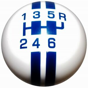 Gt500 6 Speed Shift Knob Rally White W Blue Stripes 2010 14 M10x1 25 Th