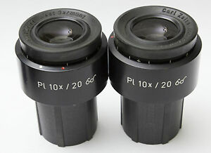 Pair Zeiss Pl 10x 20 Microscope Eyepieces 30mm Excellent 44 40 32 Goggles