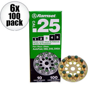 Ramset 6x 10 Discs Of 10 600 Total 3 Green 25cal Round Disc Loads 3d60 New