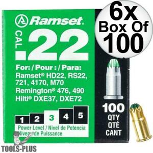 Ramset 6x Boxes Of 100 3 green 22 Cal Single Shot Loads 32cw New