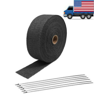 2 50ft Black Fiberglass Manifold Header Pipe Motorcycle Exhaust Heat Wrap