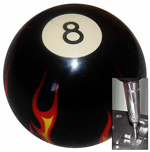 Black Flamed 8 Ball Shift Knob For Dodge Chrys Jeep Auto Stick W Adapter