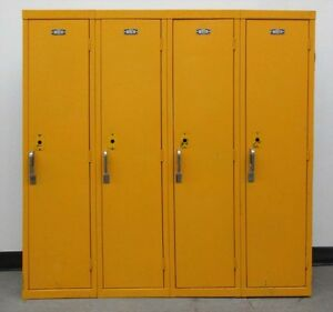 Used Yellow Kids School Metal Lockers 48 w X 12 d X 48 h