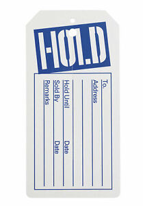 1000 White Blue Hold Tags With Center Slit Merchandise Price Tag