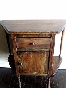 Solid Wood Smoking Table Aged Oak Color With Drawer And Lined Cabinet