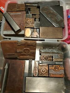 Letterpress Printing Block Stamps wood Copper copy scenery plus