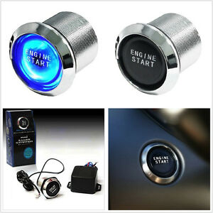 Car Engine Ignition Start Switch Blue Led Background Push Button Starter 12v Kit