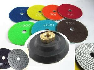 5 Inch Diamond Polishing Pads Wet dry Set Granite Concrete Marble Stone 8 Piece