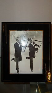Reverse Painted Art Deco Picture Frame Black Silver Exlnt Astaire Kelley Photo