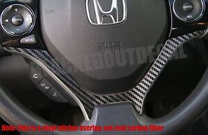 12 2015 Honda Civic Carbon Fiber Steering Wheel Accent Decal Vinyl Sticker Cover
