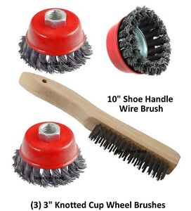 3 3 Knotted Wire Cup Brush Wheel 5 8 Arbor 4 1 2 Angle Grinder Shoe Brush