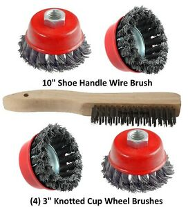 4 3 Knotted Wire Cup Brush Wheel 5 8 Arbor 4 1 2 Angle Grinder Shoe Brush