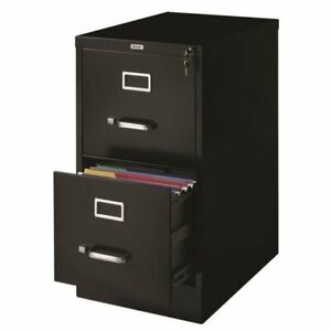 Hirsh 22 In Deep 2 Drawer Vertical Letter File Cabinet In Black