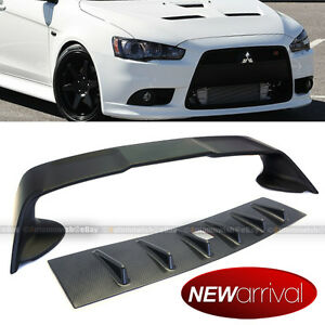 For 08 15 Lancer Evo Style Carbon Fiber Painted Vortex Generator Trunk Spoiler