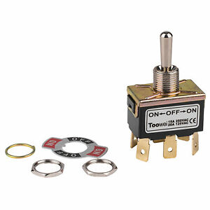 Dpdt On off on Toggle Switch 6 Spade 20a 125vac 3 Position
