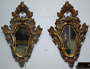Antique Italian Venetian Carved Gilt Wood Pair Of Mirrors Circa 1880s