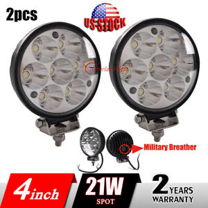 2x 4inch 21w Led Work Light Round Spot Driving Fog Lamp For Offroad Truck Jeep