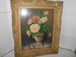 Vintage Decorative Collectible Flower Painting Print Wooden Picture And Frame