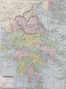 Antique Color Map Of Greece Circa 1893