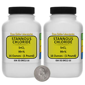 Stannous Chloride sncl2 99 Acs Grade Powder 2 Lb In Two Plastic Bottles Usa