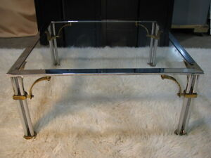 1980 S Hollywood Regency Chrome Glass Brass Square Coffee Table