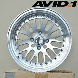 Avid 1 Av 12 15x8 4x100 25 Silver Machine Face Mesh Lip Tuner 4 Wheels Set